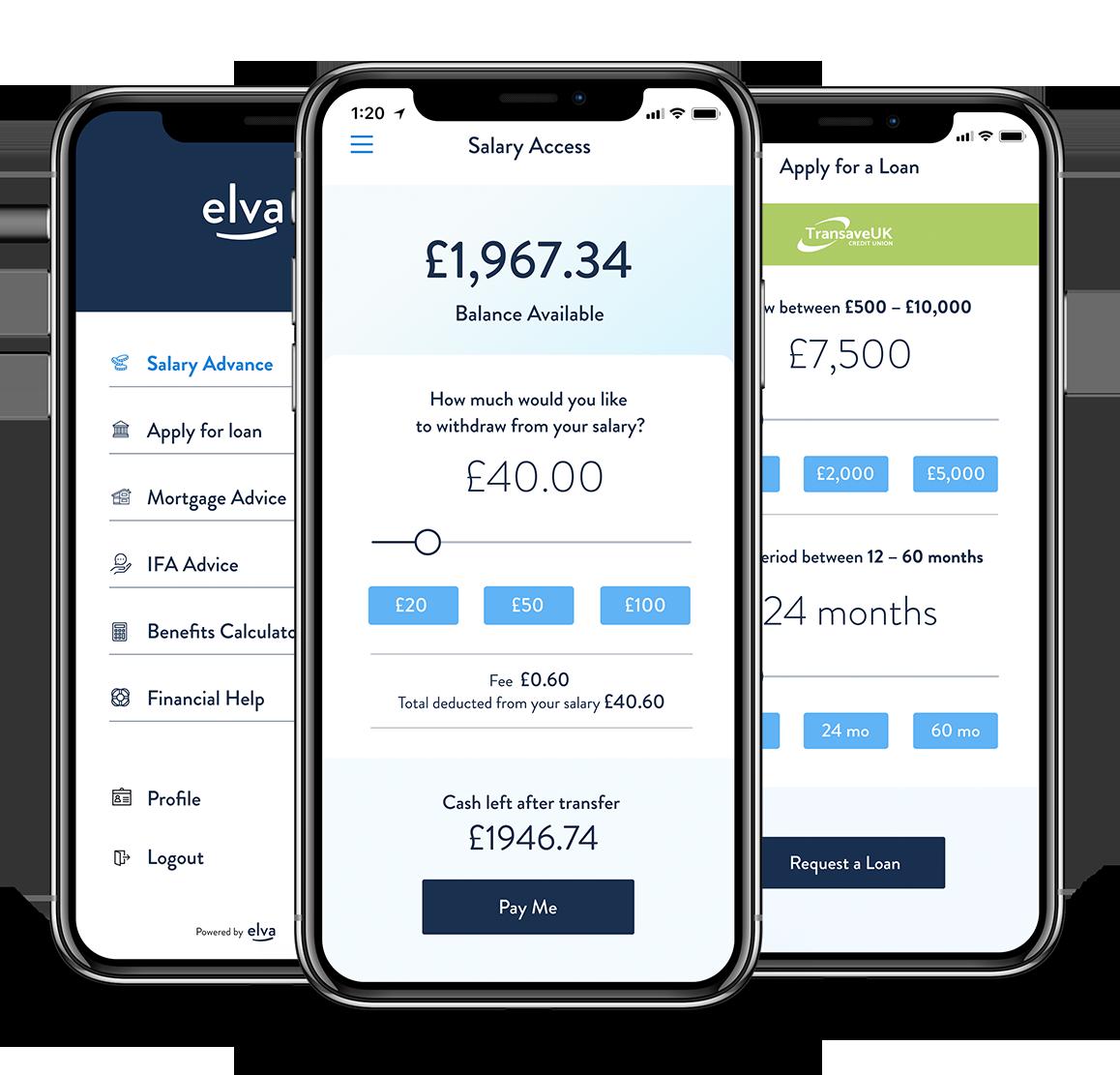 Three Elva Financial Wellbeing Phone Screens